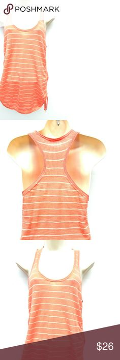 Athleta Vesta coral striper racer back tank.  XXS. Athleta loose fitting racer back tank top - style name 'Vesta Sweater'.  Light coral and white striping.  The sides are scrunched/shirred to whatever degree you like by cinching up the drawstrings.  Fabric is cotton & linen.  EUC. Athleta Tops Tank Tops