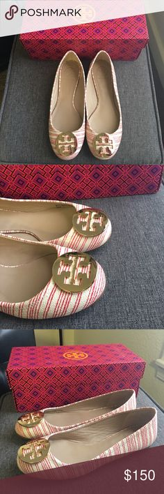 🆕 Tory Burch Flats Shoes New! In Excellent Condition! Red stripes with white background. Perfect in spring, summer and fall. Please see pictures. Color is not common which makes it really nice to this Shoes. Bundle more items in my closet and get discounts. I'm also accepting any reasonable offers. I ship the same day depending on the time of purchase. Otherwise, the next day with exceptions of Sundays. Thanks for checking. Happy shopping and happy poshing! Tory Burch Shoes Flats & Loafers