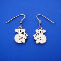 Silver Koala Earrings Hand Made Solid Silver by ijewellery