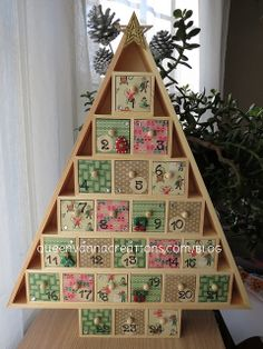 Wooden Tree Advent Calendar by queenvanna creations, via Flickr