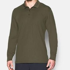 Under Armour Mens Tactical Performance - Marine Od Green XXX-Large Long Sleeve Polo, Long Sleeve Shirts, Black Coyote, Duty Boots, Mens Activewear, Under Armour Men, Sleeves, Mens Tops, Green