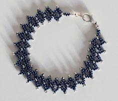Womens Bracelet, Blue Beaded Bracelet, Blue Beadweaved Bracelet, Beadweave Bracelet, Diamond Weave Bracelet on Etsy, $20.62