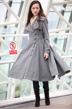 Grid Grey Cashmere Coat Big Sweep Grid Women by Sophiaclothing, $139.99
