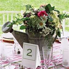 <3 sweet seating idea...table #2...with gorgeous antique watering can centerpiece...