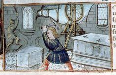 ht Tailleurs de pierres. Construction du Temple. Postilla in Bibliam par Nicolaus de Lyra, Vers 1500. (Source : BM de Tours).