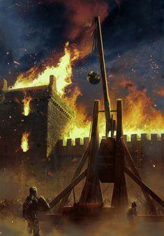 Trebuchet and a Burning City - Siege Fantasy Battle, Fantasy City, Fantasy Warrior, Fantasy World, Armadura Medieval, Medieval World, Medieval Fantasy, Valhalla, Burning City