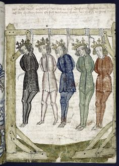 The kings, strung up. 1445. Renaissance and medieval manuscripts collection, Bible History.