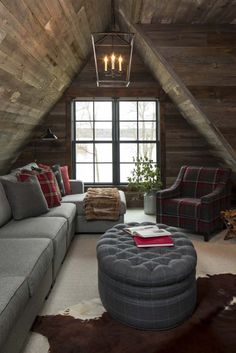 Darlana Lantern lights up a rustic cabin attic family room featuring a gray sectional with plaid accent pillows and a faux fur throw. Home Bedroom, Bedroom Decor, Rustic Lake Houses, Barn Houses, Attic Rooms, Attic Spaces, Cabin Interiors, Family Room Design, Log Homes