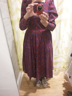 Red & blue Laura Ashley dress as tried on in Oxfam (Argyle St, Bath). Inspired by exhibition at Fashion Museum, but not my style!