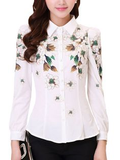 Turn Down Flowers Printing Single-Breasted Chiffon Blouse Plus Size Womens Clothing on buytrends.com