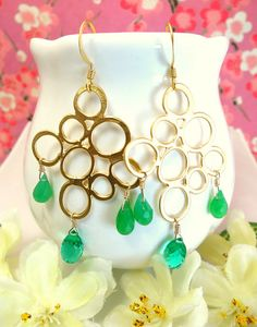 Gold bubble emerald green quartz and green by KBlossoms on Etsy, $62.00