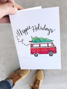 Items similar to Hippie Holidays Card Hand Lettered Watercolor Print / Christmas / Christmas gifts / Hippie Decor / Etsy Fresh / VW Bus / VW Bus Decor on Etsy – Christmas DIY Holiday Cards Creative Christmas Cards, Printable Christmas Cards, Funny Christmas Cards, Xmas Cards, Christmas Greetings, Christmas Christmas, Holiday Cards, Christmas Items, Gift Cards