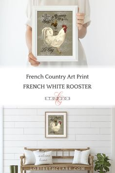 French Provincial Farmhouse Kitchen Wall Decor French Country | Etsy Art Prints For Sale, Wall Art Prints, Farmhouse Wall Decor, Modern Farmhouse, Country Decor, Farmhouse Style, Paris Theme Decor, Dining Room Art, Rooster Decor