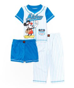 Look at this #zulilyfind! Mickey Mouse Baseball Three-Piece Pajama Set - Toddler by Mickey Mouse #zulilyfinds