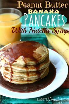 Peanut Butter Banana Pancakes with Nutella Syrup from favfamilyrecipes.com Peanut Butter Pancakes, Yogurt Pancakes, Breakfast Pancakes, Banana Pancakes, Pancakes And Waffles, Peanut Butter Banana, Breakfast Dishes, Breakfast Ideas, Banana Breakfast
