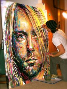 Here's a painting of Kurt Cobain I've been working on...