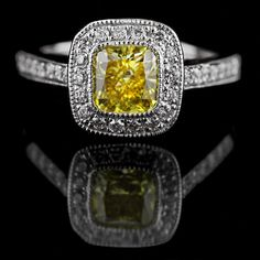 Antique Engagement Ring with Yellow Man Made Diamond | MiaDonna® The Future of Diamond®