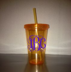 Monogrammed 17.5 oz / 18 oz Tumblers - Color Tumbler - With Matching Lid & Straw -  Orange Tumbler - BPA free - Many monogram color choices! by CustomMonogramDesign on Etsy