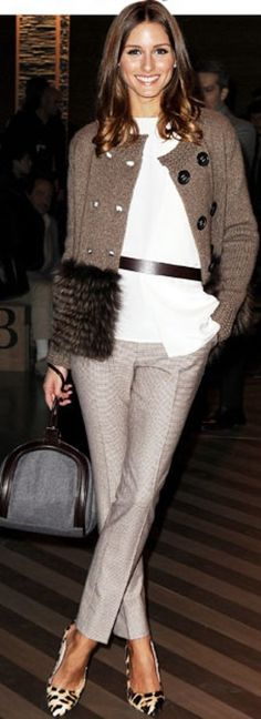 Olivia Palermo, wore this chic, neutral dream to the AW 2012 Ermenegildo Zenga show