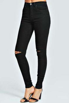 Sariah Black 5 Pocket Full Length Jeans at boohoo.com