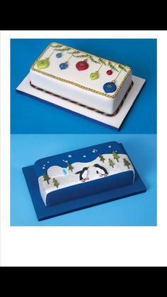 Christmas rectangular cake design More - - Christmas Cake Designs, Christmas Cake Decorations, Christmas Cupcakes, Christmas Sweets, Holiday Cakes, Christmas Cooking, Noel Christmas, Christmas Goodies, Xmas Cakes