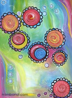 Jumps for Joy | Mixed media painting by Mimi Bondi