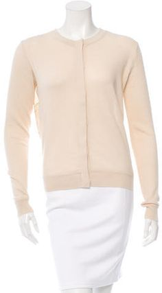 Cream Opening Ceremony cardigan with round neck, long sleeves, embroidery at back featuring metallic accents and hidden button closures at front. Opening Ceremony, Button Up, Sweaters For Women, Stylish, Blouse, Cardigans, Tags, Fashion, Moda
