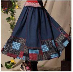 Женская мода китайский стиль белье печатных лоскутное юбка длинные юбки FF07 купить на AliExpress