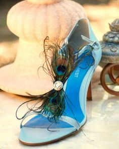 Shoe Clips Peacock Feather Bow Bride Bridal by sofisticata on Etsy