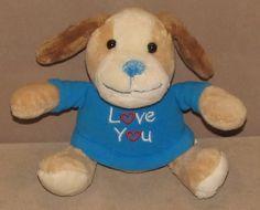 "8"" Walmart Tan Puppy Dog Blue Love You Top Heart Foot Bean Bag Plush Stuffed Toy #Walmart"