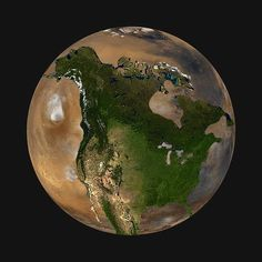 North America superimposed on Mars, to scale
