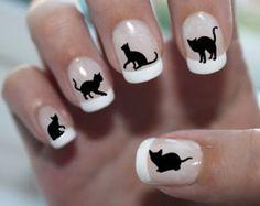 51 NAIL DECALS Black CATS 2 Familiar Symbols Nail by NorthofSalem