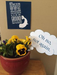 """Hitchhiker's Guide to the Galaxy 42nd birthday party. Bowl of """"petunias"""" (real ones not in season during the party!)"""