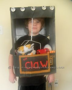 Super-Easy and Cheap Costume Idea for a Child: The Claw Machine… Enter the Coolest Halloween Costume Contest at http://ideas.coolest-homemade-costumes.com/submit/