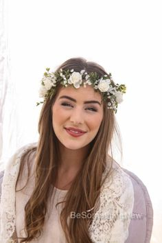 THE HAIR: this crown for bride and just babys breath for the bridesmaids