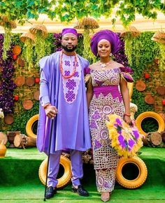 Classic Nigerian Couple Outfits/Igbo Traditional Wedding Outfits: Lilac Agbada Set For Groom & Purple George Set For Bride African Attire, African Wear, African Fashion Dresses, African Dress, African Outfits, African Lace, African Style, Nigerian Wedding Dresses Traditional, Traditional Wedding Attire
