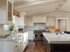 This cheery kitchen has lots of cabinet space and a large island for entertaining.