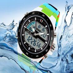 Men Waterproof Sport Digital Analog Dual Time Alarm Date Chronograph Wrist Watch #Affiliate