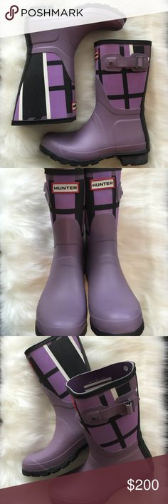 "NEW!  HUNTER BOOTS  TARTAN RAIN BOOTS, Size 6 BRAND NEW WITHOUT TAGS OR BOX!  Labeled a size 6 Women's!  SUPER UNIQUE!  Popular HUNTER brand!!!  Purple color shows a bit brighter in the picture than it actually is in person on the ""plaid"" section.  GORGEOUS BOOTS!!!  AX Hunter Shoes Winter & Rain Boots"