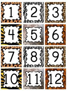 Jungle / Safari Theme Calendar Numbers by KinderKuties Safari Jungle, Jungle Room, Safari Theme, Safari Room, Circus Theme, Animal Print Classroom, Jungle Theme Classroom, Classroom Themes, Preschool Jungle