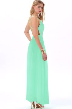 Green V-neck Spaghetti Straps Backless Maxi Dress - Sheinside.com