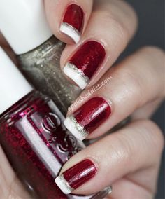 Cute Christmas Nail Designs That Will Amaze You  christmas nails by thu red nails with gold glitter tips christmas nail art french red tips with glitter cute christmas nail designs that will a. Xmas Nails, Christmas Nails, Christmas Colors, Christmas Time, French Christmas, White Christmas, Prom Nails, Christmas Quotes, Simple Christmas
