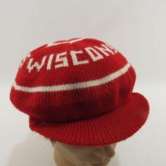 06b5506585c Vintage Wisconsin Go Badgers Knit Hat Winter Cap Red Round Ivy Newsboy   Unbranded  NewsboyCap
