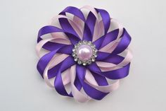 Pink and Purple Flower Hair Bow- Satin Hair Bow- Flower Hair Clip- Wedding Hair Clip- Hair Bow with Pearl Rhinestone- Girl Hair Accessory