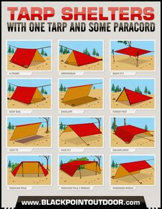 Tarp Shelters Infographic #HowTo make #shelter from a tarp and paracord. tarps are at walmart, relatively inexpensive.