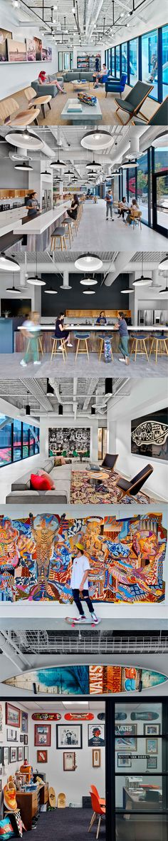 Rapt Studio designed the new headquarters for skateboarding brand and shoe manufacturer Vans, located in Costa Mesa, California. Vans is a state of mind. Room Interior, Interior Design, Shoe Manufacturers, Workplace Design, Furniture Design, Vans, Tours, Studio, Office Designs