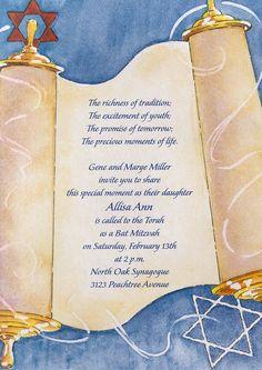 Watercolor Torah Bar Mitzvah Invitation