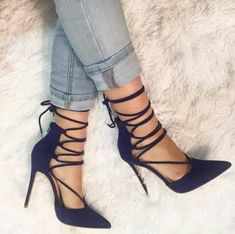 Strappy navy blue heels
