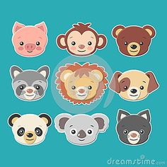 Cute Animal Faces Stickers Set -vector Stock Vector - Illustration of background, doodle: 42964508 Fashion Invitation, Face Stickers, Print Wallpaper, Animal Faces, Pikachu, Cute Animals, Doodles, Gift Wrapping, Cartoon