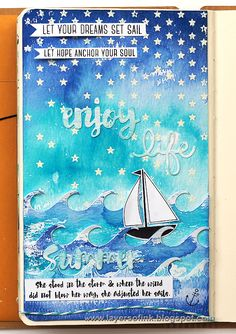 Set Sail Journal Page by Anna-Karin for the Simon Says Stamp Monday challenge (Trio Of Colors)